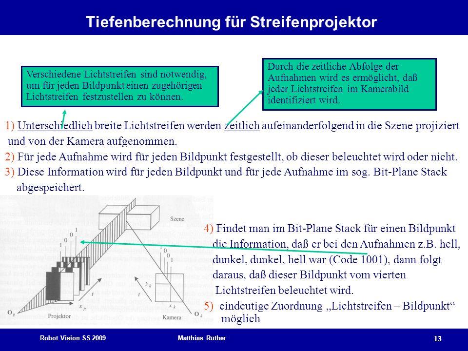Robot Vision SS 2009 Matthias Rüther 13 Tiefenberechnung für Streifenprojektor 1) Unterschiedlich breite Lichtstreifen werden zeitlich aufeinanderfolg