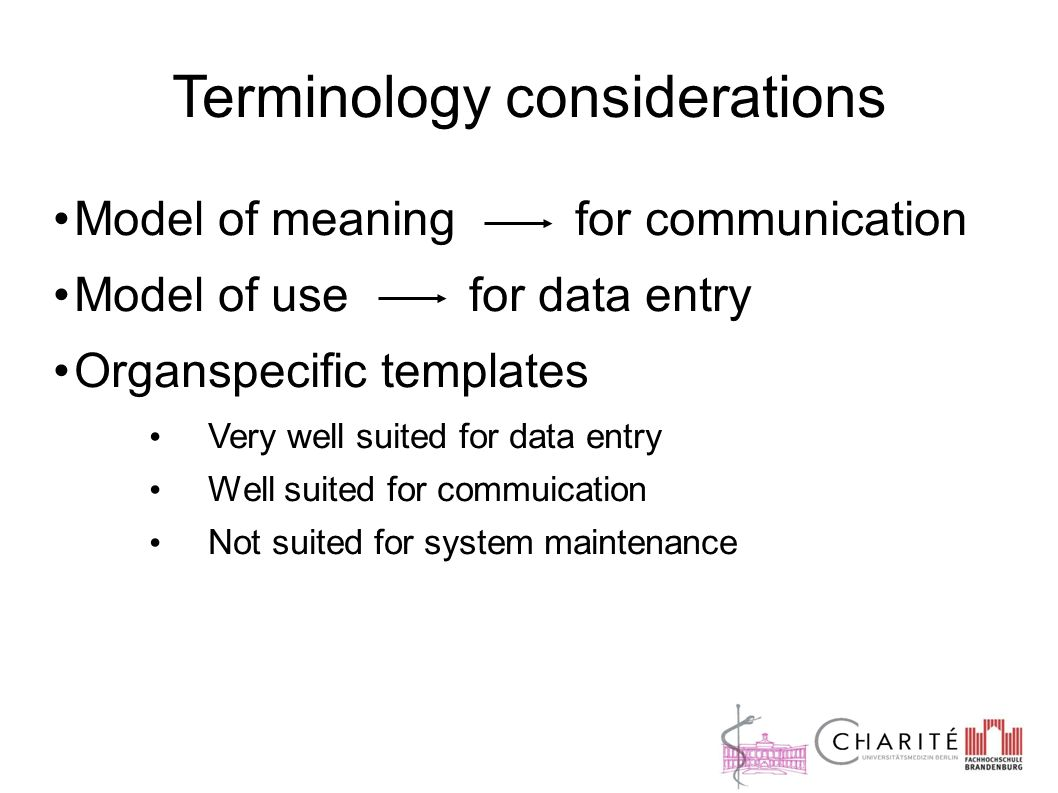 Terminology considerations Model of meaning for communication Model of use for data entry Organspecific templates Very well suited for data entry Well suited for commuication Not suited for system maintenance