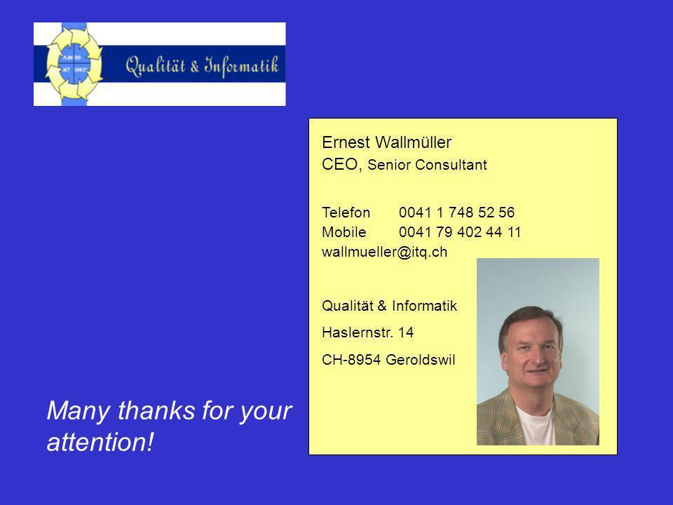 Ernest Wallmüller CEO, Senior Consultant Telefon0041 1 748 52 56 Mobile0041 79 402 44 11 wallmueller@itq.ch Qualität & Informatik Haslernstr.