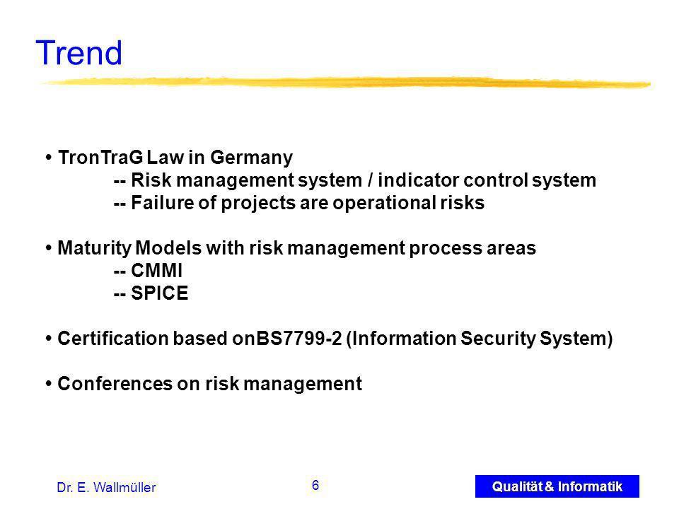 27 Qualität & Informatik Dr.E. Wallmüller Reporting with Risk Information...
