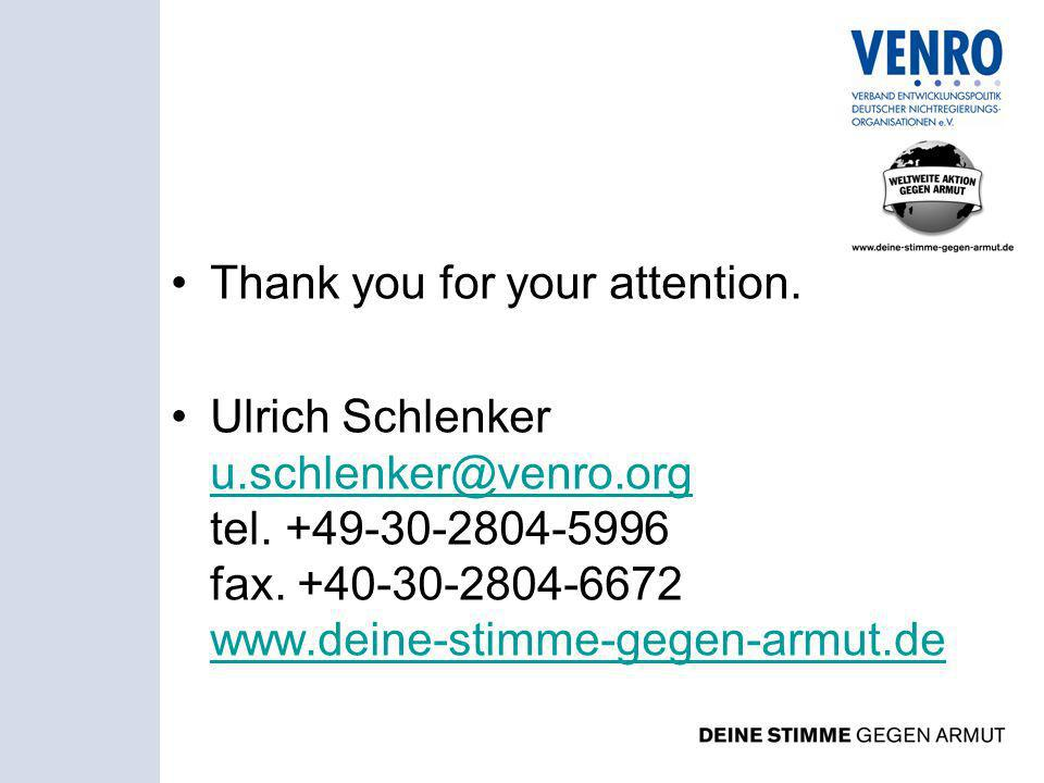 Thank you for your attention. Ulrich Schlenker u.schlenker@venro.org tel.