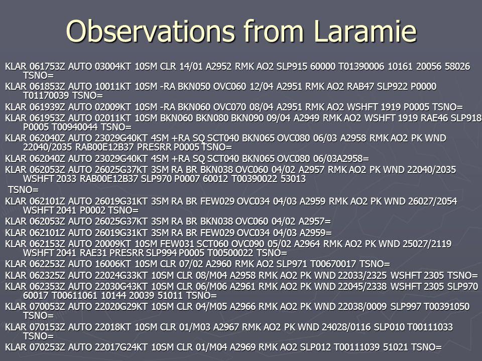 Observations from Laramie KLAR 061753Z AUTO 03004KT 10SM CLR 14/01 A2952 RMK AO2 SLP915 60000 T01390006 10161 20056 58026 TSNO= KLAR 061853Z AUTO 1001