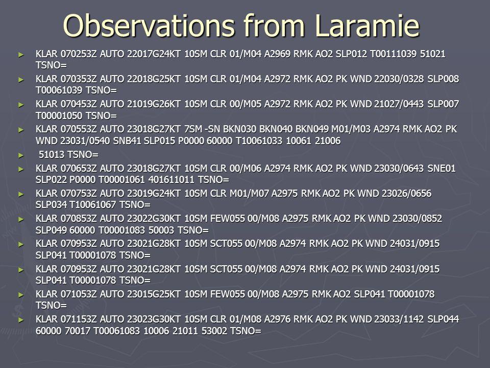 Observations from Laramie KLAR 070253Z AUTO 22017G24KT 10SM CLR 01/M04 A2969 RMK AO2 SLP012 T00111039 51021 TSNO= KLAR 070253Z AUTO 22017G24KT 10SM CLR 01/M04 A2969 RMK AO2 SLP012 T00111039 51021 TSNO= KLAR 070353Z AUTO 22018G25KT 10SM CLR 01/M04 A2972 RMK AO2 PK WND 22030/0328 SLP008 T00061039 TSNO= KLAR 070353Z AUTO 22018G25KT 10SM CLR 01/M04 A2972 RMK AO2 PK WND 22030/0328 SLP008 T00061039 TSNO= KLAR 070453Z AUTO 21019G26KT 10SM CLR 00/M05 A2972 RMK AO2 PK WND 21027/0443 SLP007 T00001050 TSNO= KLAR 070453Z AUTO 21019G26KT 10SM CLR 00/M05 A2972 RMK AO2 PK WND 21027/0443 SLP007 T00001050 TSNO= KLAR 070553Z AUTO 23018G27KT 7SM -SN BKN030 BKN040 BKN049 M01/M03 A2974 RMK AO2 PK WND 23031/0540 SNB41 SLP015 P0000 60000 T10061033 10061 21006 KLAR 070553Z AUTO 23018G27KT 7SM -SN BKN030 BKN040 BKN049 M01/M03 A2974 RMK AO2 PK WND 23031/0540 SNB41 SLP015 P0000 60000 T10061033 10061 21006 51013 TSNO= 51013 TSNO= KLAR 070653Z AUTO 23018G27KT 10SM CLR 00/M06 A2974 RMK AO2 PK WND 23030/0643 SNE01 SLP022 P0000 T00001061 401611011 TSNO= KLAR 070653Z AUTO 23018G27KT 10SM CLR 00/M06 A2974 RMK AO2 PK WND 23030/0643 SNE01 SLP022 P0000 T00001061 401611011 TSNO= KLAR 070753Z AUTO 23019G24KT 10SM CLR M01/M07 A2975 RMK AO2 PK WND 23026/0656 SLP034 T10061067 TSNO= KLAR 070753Z AUTO 23019G24KT 10SM CLR M01/M07 A2975 RMK AO2 PK WND 23026/0656 SLP034 T10061067 TSNO= KLAR 070853Z AUTO 23022G30KT 10SM FEW055 00/M08 A2975 RMK AO2 PK WND 23030/0852 SLP049 60000 T00001083 50003 TSNO= KLAR 070853Z AUTO 23022G30KT 10SM FEW055 00/M08 A2975 RMK AO2 PK WND 23030/0852 SLP049 60000 T00001083 50003 TSNO= KLAR 070953Z AUTO 23021G28KT 10SM SCT055 00/M08 A2974 RMK AO2 PK WND 24031/0915 SLP041 T00001078 TSNO= KLAR 070953Z AUTO 23021G28KT 10SM SCT055 00/M08 A2974 RMK AO2 PK WND 24031/0915 SLP041 T00001078 TSNO= KLAR 071053Z AUTO 23015G25KT 10SM FEW055 00/M08 A2975 RMK AO2 SLP041 T00001078 TSNO= KLAR 071053Z AUTO 23015G25KT 10SM FEW055 00/M08 A2975 RMK AO2 SLP041 T00001078 TSNO= KLAR 071153Z AUTO 23023G30KT 10S