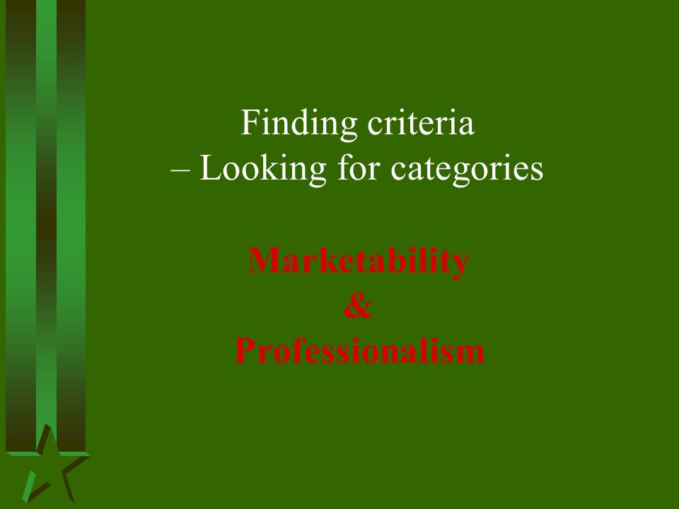 Finding criteria – Looking for categories Marketability & Professionalism
