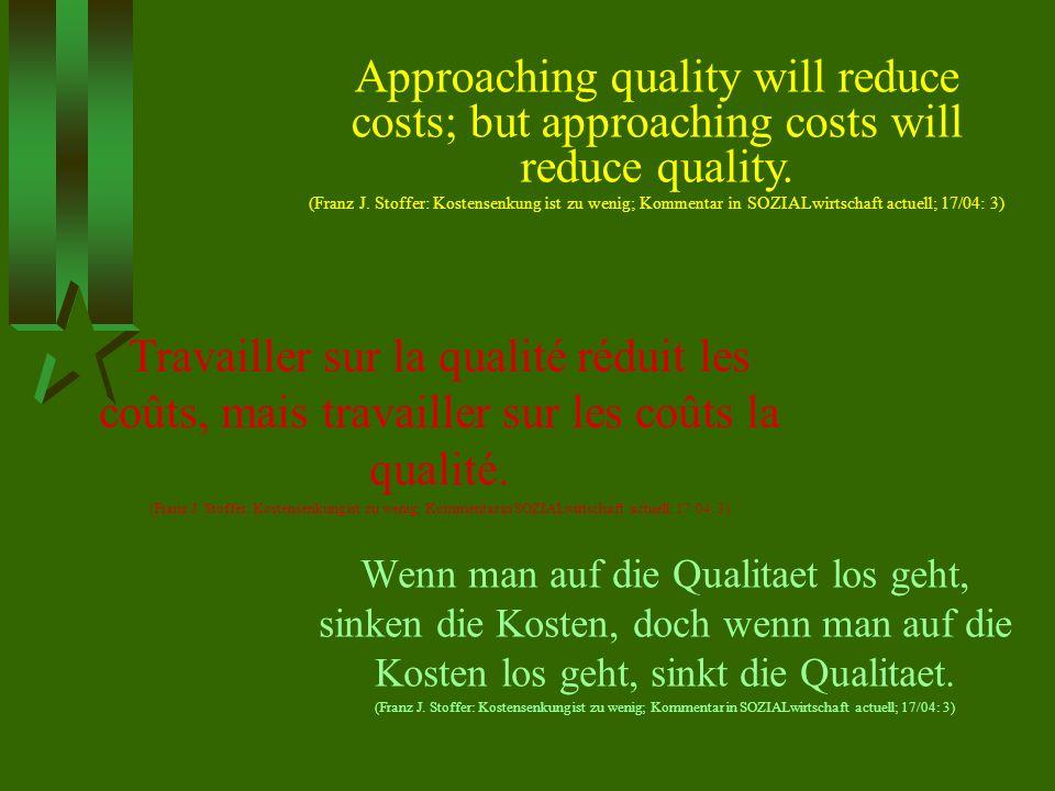 Wenn man auf die Qualitaet los geht, sinken die Kosten, doch wenn man auf die Kosten los geht, sinkt die Qualitaet. (Franz J. Stoffer: Kostensenkung i