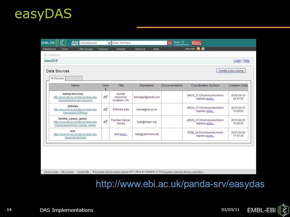 01/03/11 DAS Implementations 14 easyDAS http://www.ebi.ac.uk/panda-srv/easydas