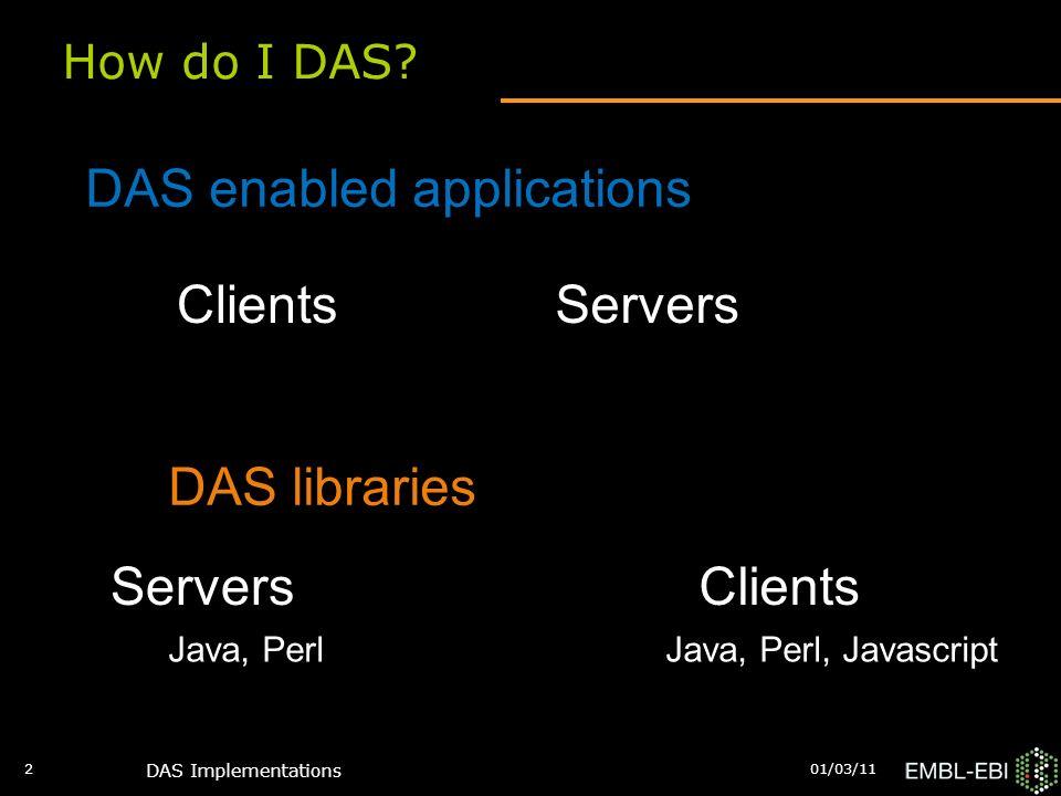 DAS Implementations 2 How do I DAS? DAS enabled applications DAS libraries ClientsServers ClientsServers Java, PerlJava, Perl, Javascript