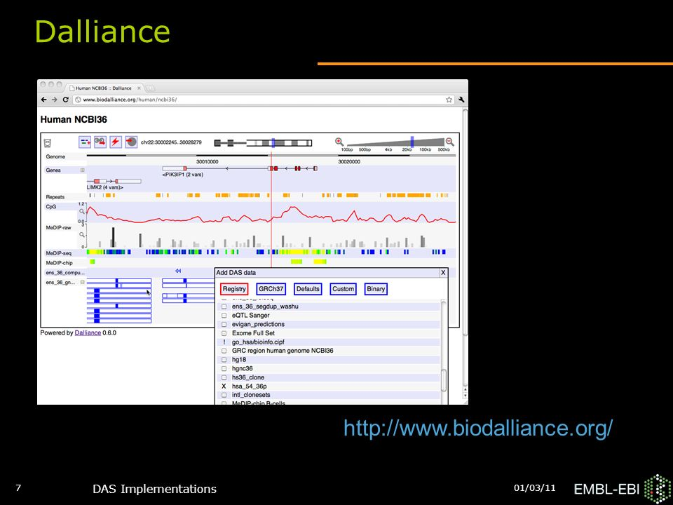 01/03/11 DAS Implementations 7 Dalliance http://www.biodalliance.org/