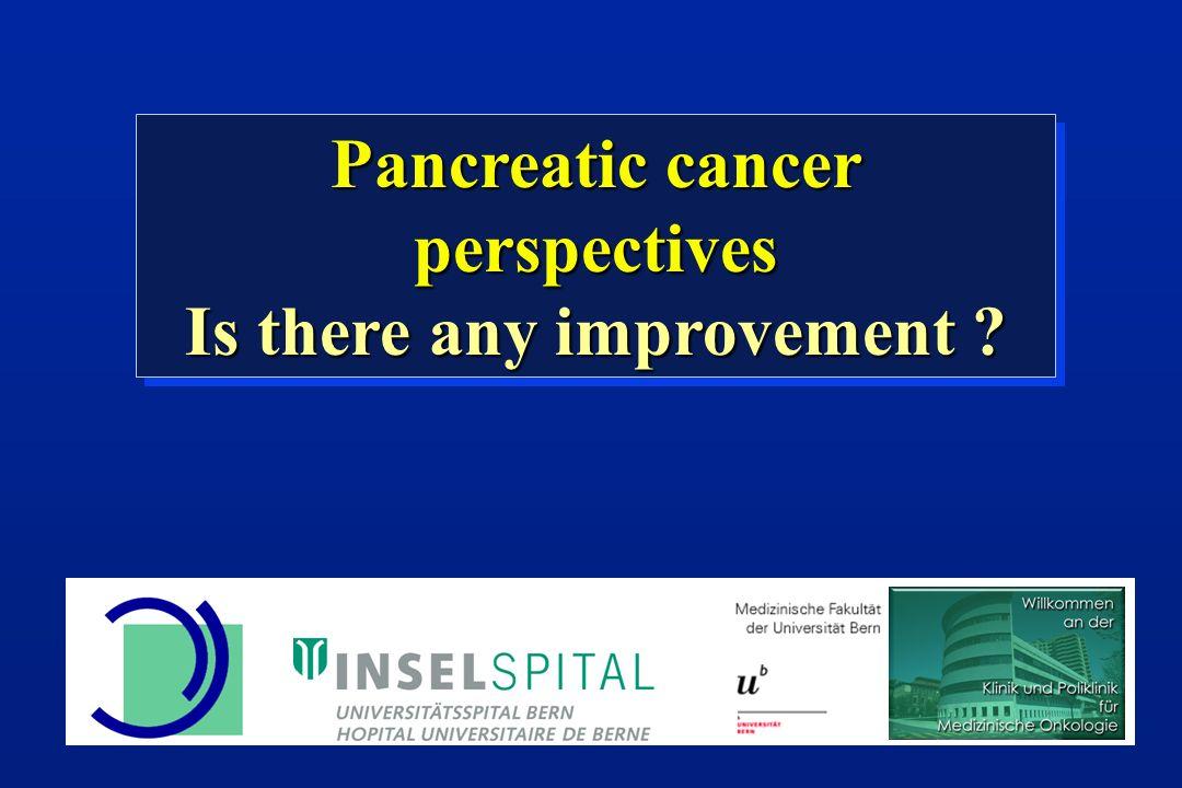 119 patients with locally advanced pancreatic cancer Radiotherapy 60 Gy + FU 300 mg/m 2 CI + Cisplatin 20 mg/m 2 d 1-5 Chauffert, Ann Oncol 2008, 1592 Gemcitabine 1000 mg/m 2 7/8 Wo Median Survival 14.3 Mo (G) vs 8.4 Mo (p=0.014) 1-J-Survival 51% vs 24% (p=0.03) Gemcitabine 1000 mg/m 2 3/4 Wo Definitive Chemoradiotherapy