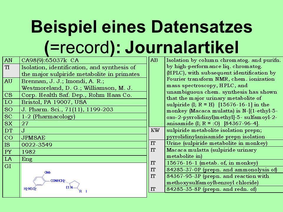 Beispiel eines Datensatzes (=record): Journalartikel