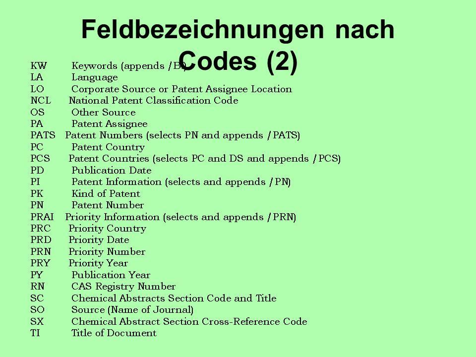 Feldbezeichnungen nach Codes (2)