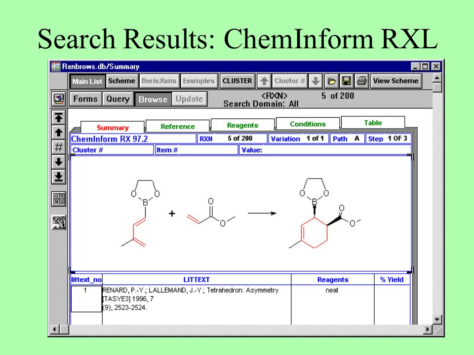 Search Results: ChemInform RXL