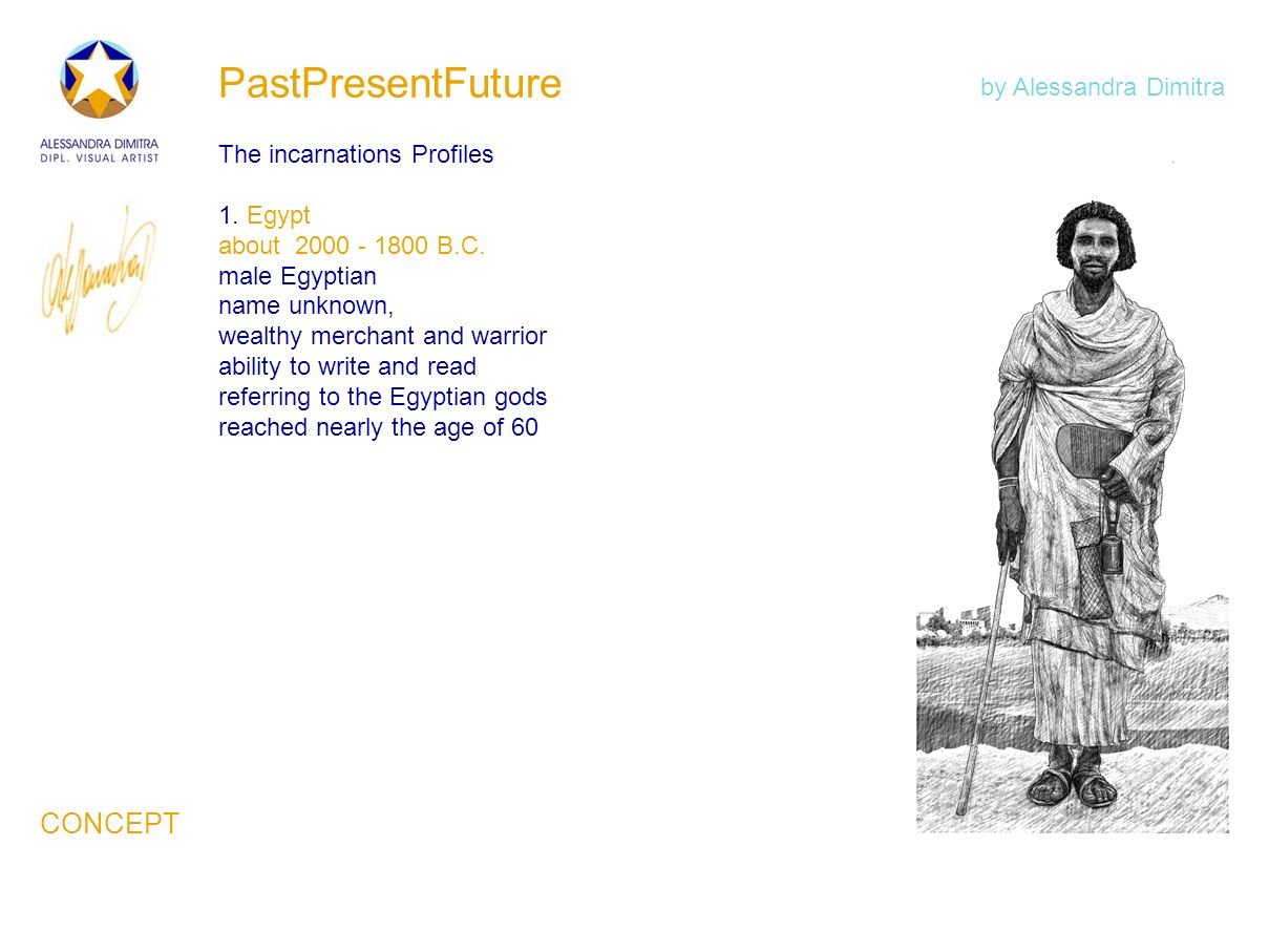 PastPresentFuture The incarnations Profiles 1. Egypt about 2000 - 1800 B.C. male Egyptian name unknown, wealthy merchant and warrior ability to write