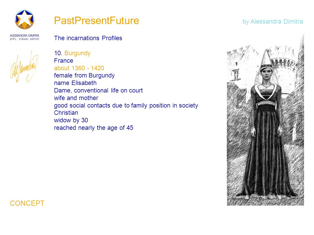 PastPresentFuture The incarnations Profiles 10. Burgundy France about 1360 - 1420 female from Burgundy name Elisabeth Dame, conventional life on court