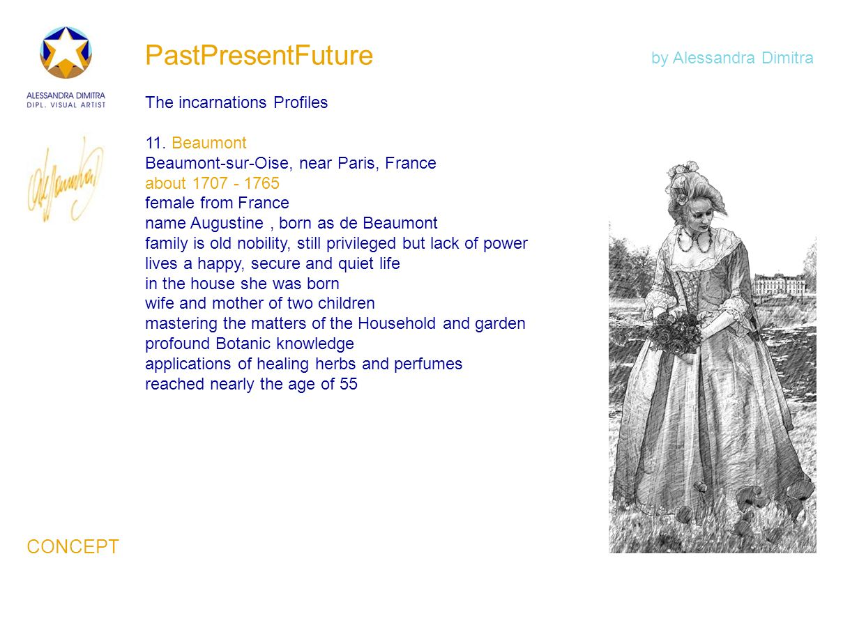 PastPresentFuture The incarnations Profiles 11. Beaumont Beaumont-sur-Oise, near Paris, France about 1707 - 1765 female from France name Augustine, bo