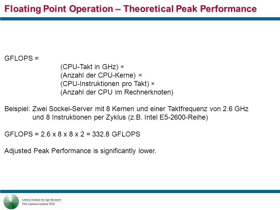 Floating Point Operation – Theoretical Peak Performance GFLOPS = (CPU-Takt in GHz) × (Anzahl der CPU-Kerne) × (CPU-Instruktionen pro Takt) × (Anzahl d