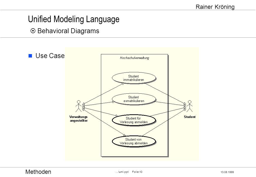 Methoden 13.08.1999 …\uml.ppt Folie:10 Rainer Kröning Unified Modeling Language Behavioral Diagrams Use Case
