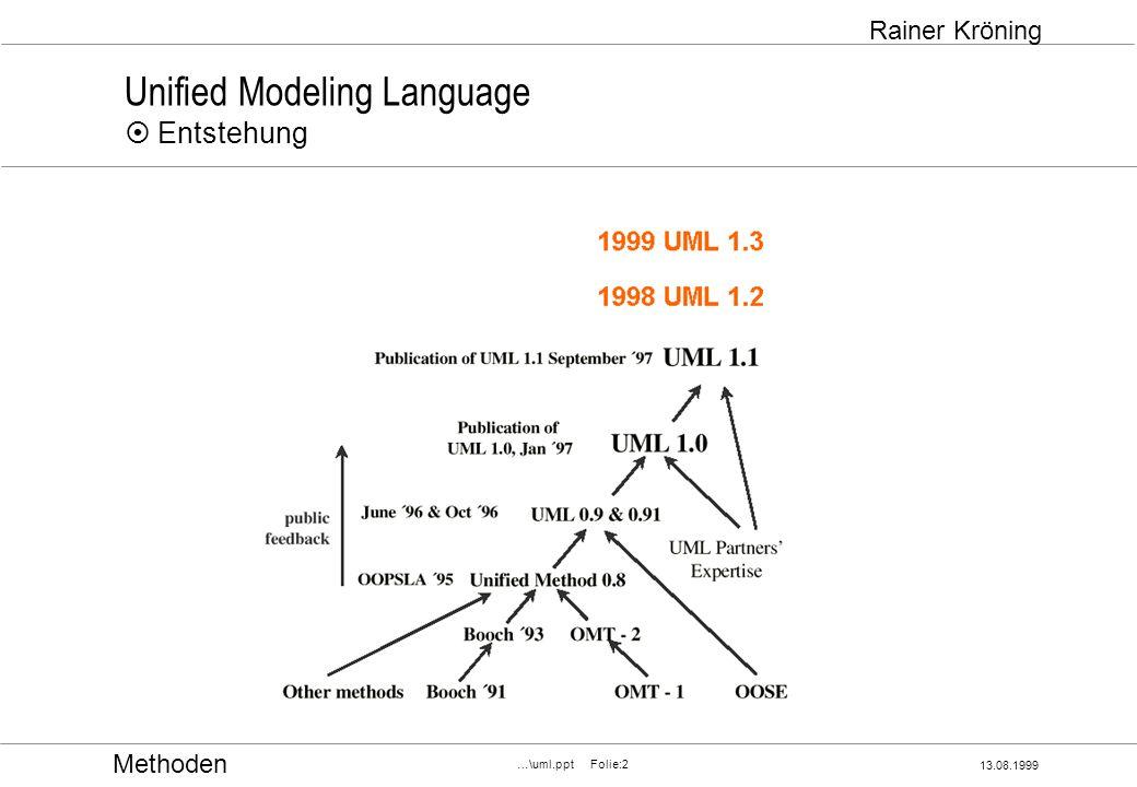 Methoden 13.08.1999 …\uml.ppt Folie:2 Rainer Kröning Unified Modeling Language Entstehung
