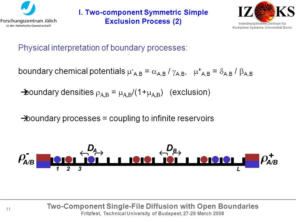 Two-Component Single-File Diffusion with Open Boundaries Fritzfest, Technical University of Budapest, 27-29 March 2008 Interdisziplinäres Zentrum für Komplexe Systeme, Universität Bonn 11 I.