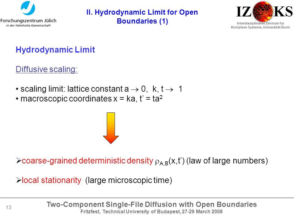 Two-Component Single-File Diffusion with Open Boundaries Fritzfest, Technical University of Budapest, 27-29 March 2008 Interdisziplinäres Zentrum für Komplexe Systeme, Universität Bonn 13 II.