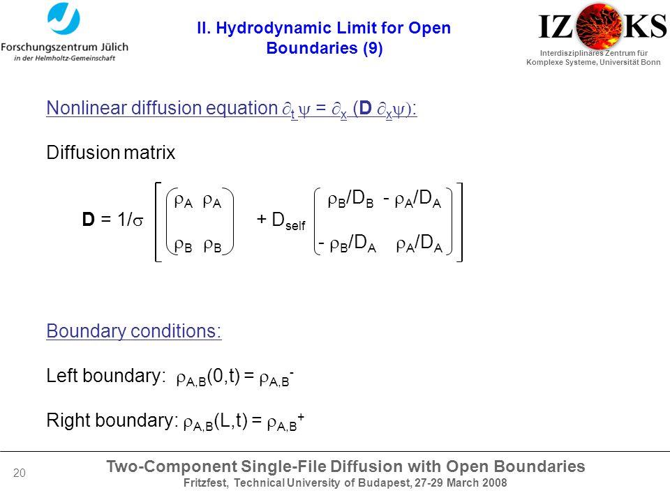 Two-Component Single-File Diffusion with Open Boundaries Fritzfest, Technical University of Budapest, 27-29 March 2008 Interdisziplinäres Zentrum für Komplexe Systeme, Universität Bonn 20 II.