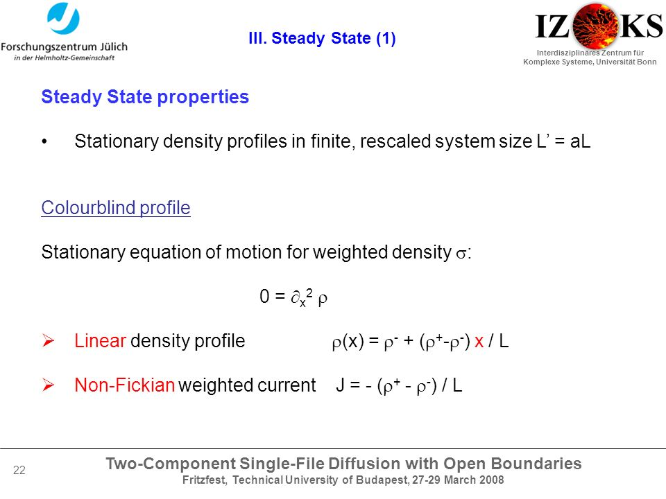 Two-Component Single-File Diffusion with Open Boundaries Fritzfest, Technical University of Budapest, 27-29 March 2008 Interdisziplinäres Zentrum für Komplexe Systeme, Universität Bonn 22 III.