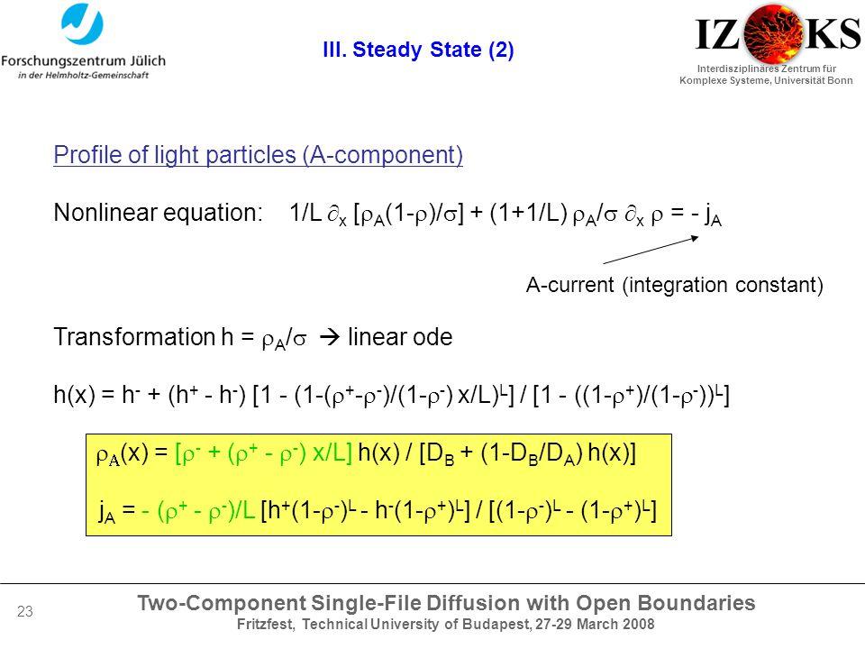 Two-Component Single-File Diffusion with Open Boundaries Fritzfest, Technical University of Budapest, 27-29 March 2008 Interdisziplinäres Zentrum für Komplexe Systeme, Universität Bonn 23 III.