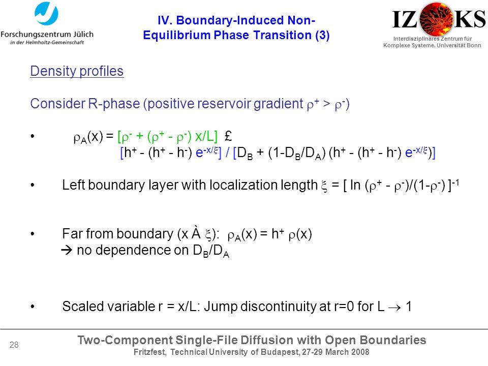 Two-Component Single-File Diffusion with Open Boundaries Fritzfest, Technical University of Budapest, 27-29 March 2008 Interdisziplinäres Zentrum für Komplexe Systeme, Universität Bonn 28 IV.