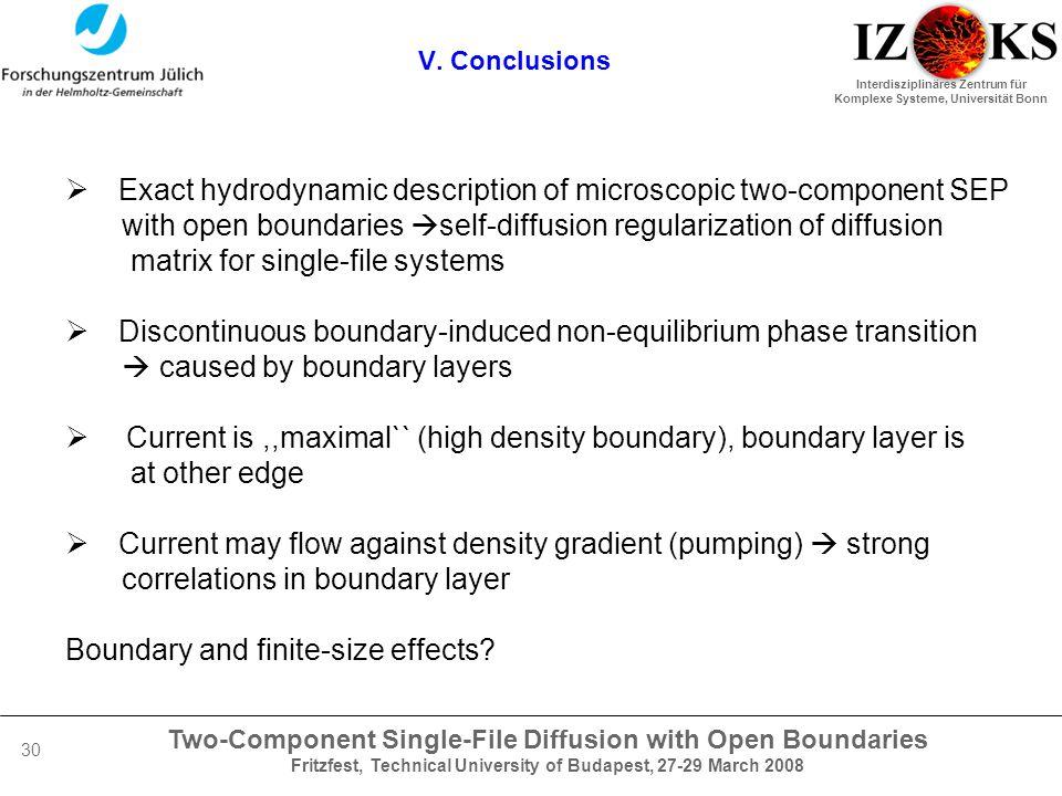 Two-Component Single-File Diffusion with Open Boundaries Fritzfest, Technical University of Budapest, 27-29 March 2008 Interdisziplinäres Zentrum für Komplexe Systeme, Universität Bonn 30 V.