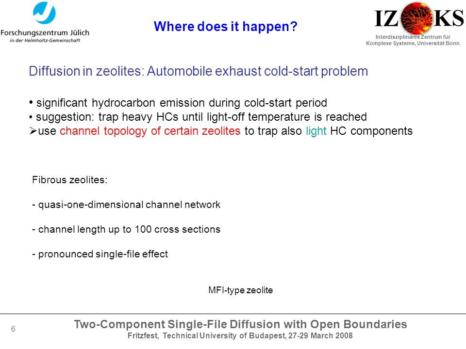 Two-Component Single-File Diffusion with Open Boundaries Fritzfest, Technical University of Budapest, 27-29 March 2008 Interdisziplinäres Zentrum für Komplexe Systeme, Universität Bonn 6 Where does it happen.