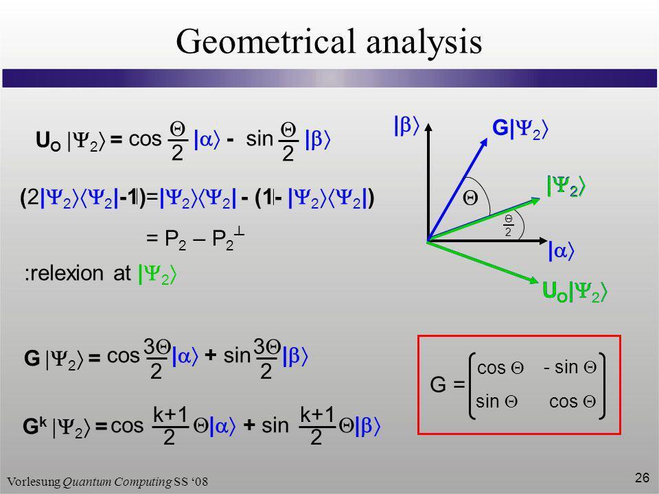 Vorlesung Quantum Computing SS 08 26 Geometrical analysis 2 | | | 2 U O 2 = cos | - sin | 2 2 U O | 2 | 2 U O | 2 (2| 2 2 |-1)=| 2 2 | - (1- | 2 2 |)