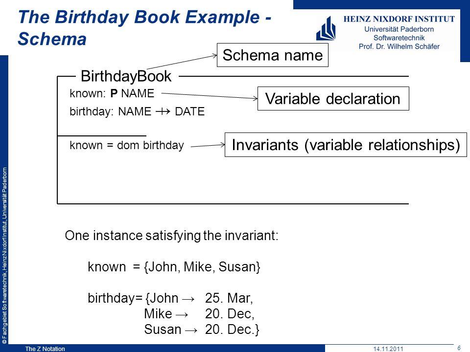 © Fachgebiet Softwaretechnik, Heinz Nixdorf Institut, Universität Paderborn 6 The Z Notation The Birthday Book Example - Schema Variable declaration B