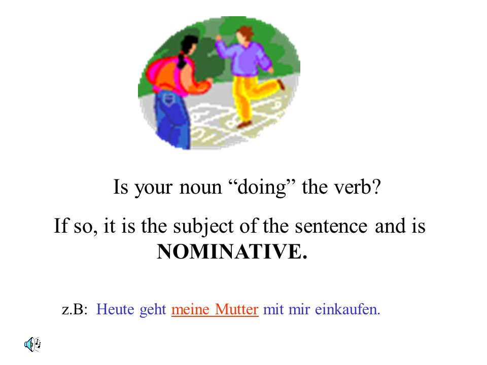 Lets check for the case of the noun or pronoun. It could be in : Nominative Accusative Dative Genitive