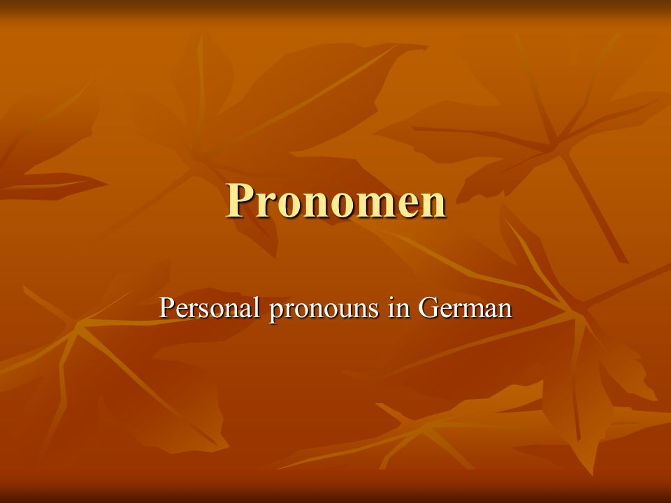 Pronomen Personal pronouns in German