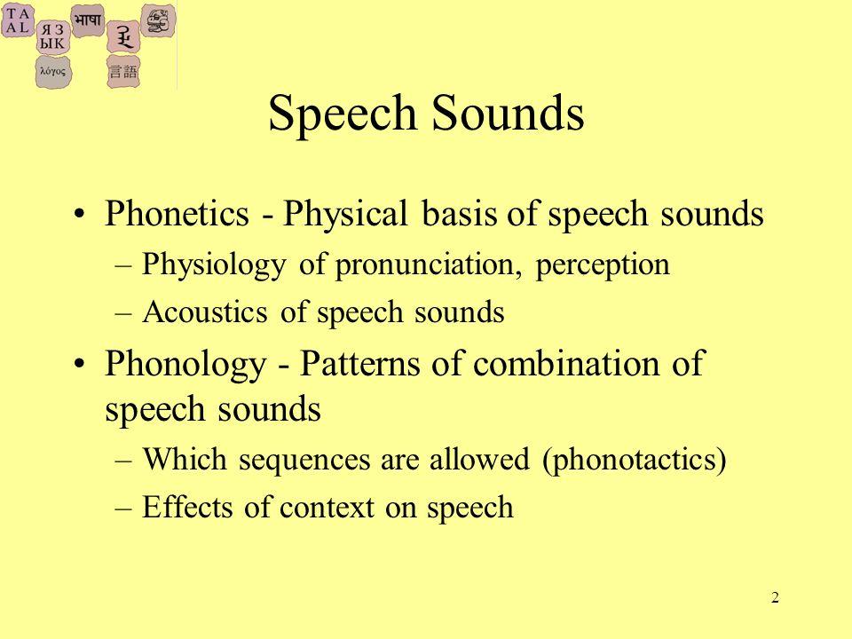 2 Speech Sounds Phonetics - Physical basis of speech sounds –Physiology of pronunciation, perception –Acoustics of speech sounds Phonology - Patterns of combination of speech sounds –Which sequences are allowed (phonotactics) –Effects of context on speech