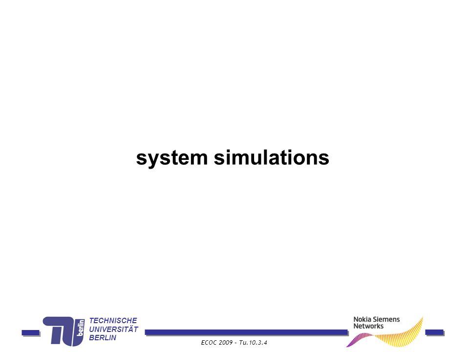 TECHNISCHE UNIVERSITÄT BERLIN ECOC 2009 – Tu.10.3.4 system simulations