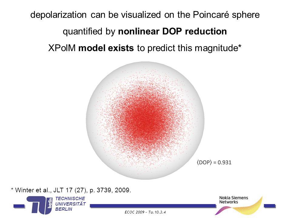 TECHNISCHE UNIVERSITÄT BERLIN ECOC 2009 – Tu.10.3.4 depolarization can be visualized on the Poincaré sphere quantified by nonlinear DOP reduction XPol