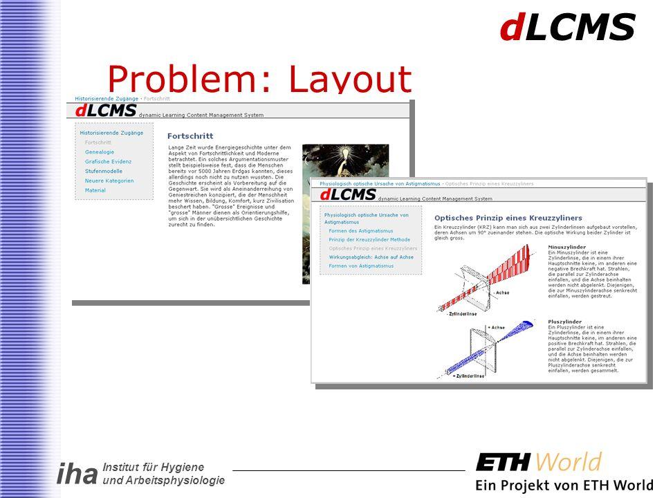 iha Institut für Hygiene und Arbeitsphysiologie Problem: Layout dLCMS