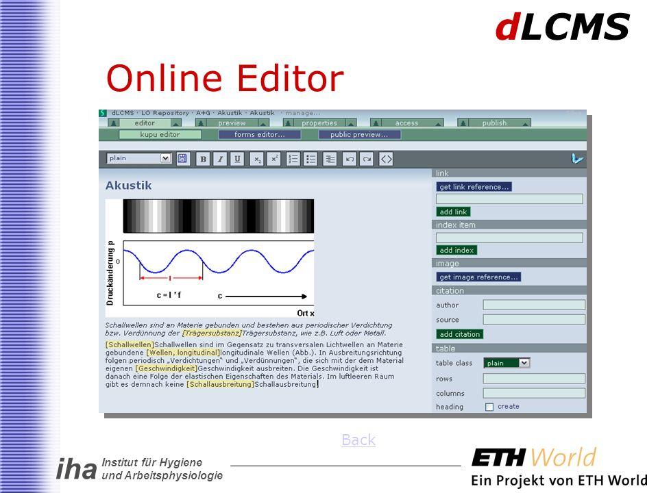 iha Institut für Hygiene und Arbeitsphysiologie Online Editor dLCMS Back