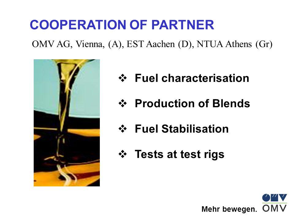 Mehr bewegen. COOPERATION OF PARTNER OMV AG, Vienna, (A), EST Aachen (D), NTUA Athens (Gr) Fuel characterisation Production of Blends Fuel Stabilisati