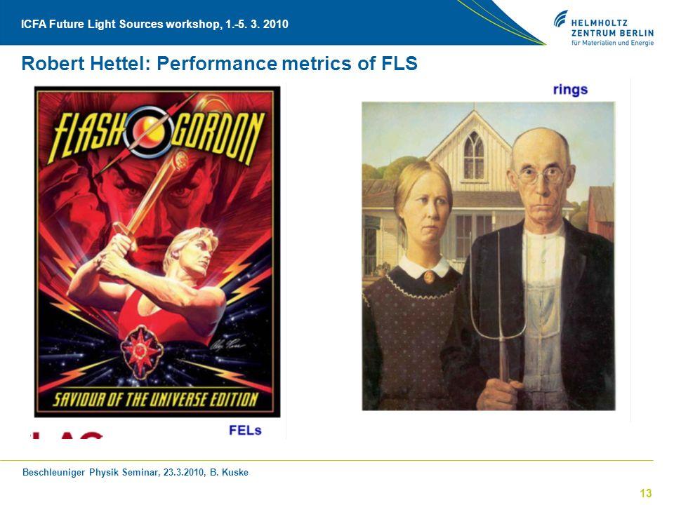 Beschleuniger Physik Seminar, 23.3.2010, B. Kuske ICFA Future Light Sources workshop, 1.-5. 3. 2010 13 Robert Hettel: Performance metrics of FLS