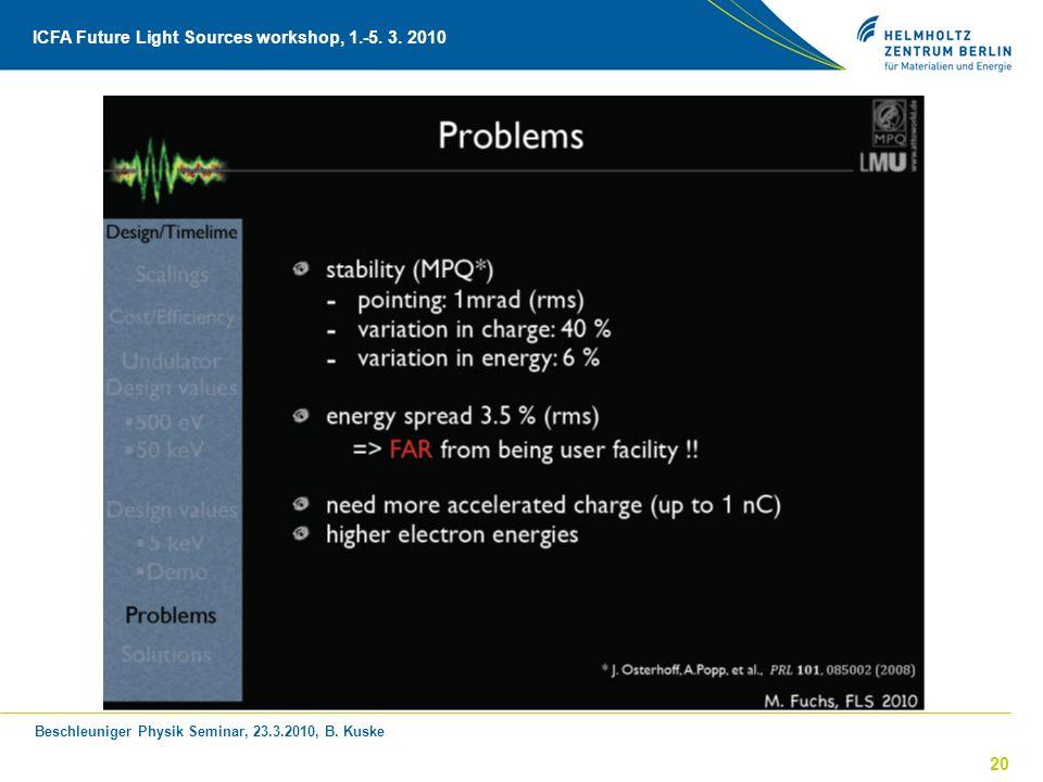 Beschleuniger Physik Seminar, 23.3.2010, B. Kuske ICFA Future Light Sources workshop, 1.-5. 3. 2010 20