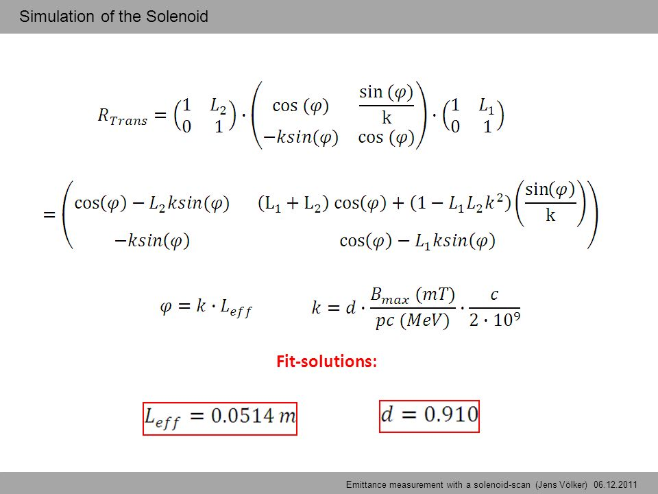 Fit-solutions: Emittancemeasurement with a solenoid-scan (Jens Völker) – Solenoid-Simulations Simulation of the Solenoid Emittance measurement with a solenoid-scan (Jens Völker) 06.12.2011