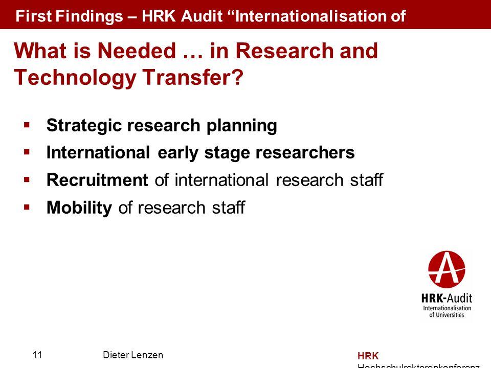 Prof. Dr. Dieter Lenzen Dieter Lenzen Strategic research planning International early stage researchers Recruitment of international research staff Mo