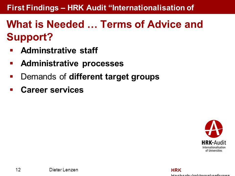 Prof. Dr. Dieter Lenzen Dieter Lenzen Adminstrative staff Administrative processes Demands of different target groups Career services HRK Hochschulrek