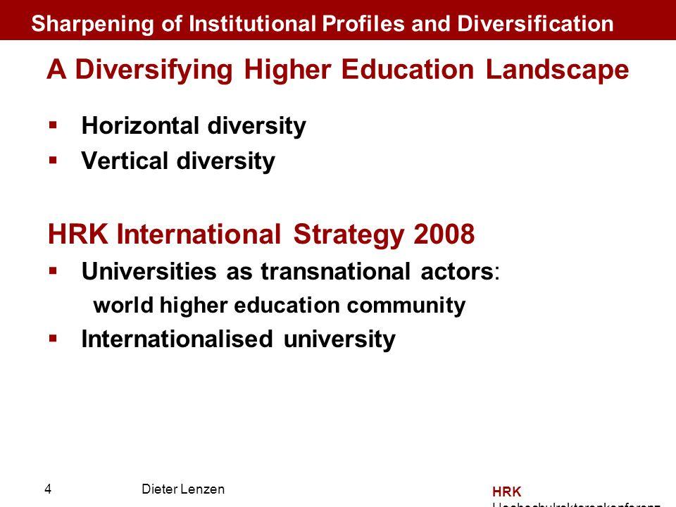 Prof. Dr. Dieter Lenzen Dieter Lenzen HRK Hochschulrektorenkonferenz A Diversifying Higher Education Landscape Horizontal diversity Vertical diversity