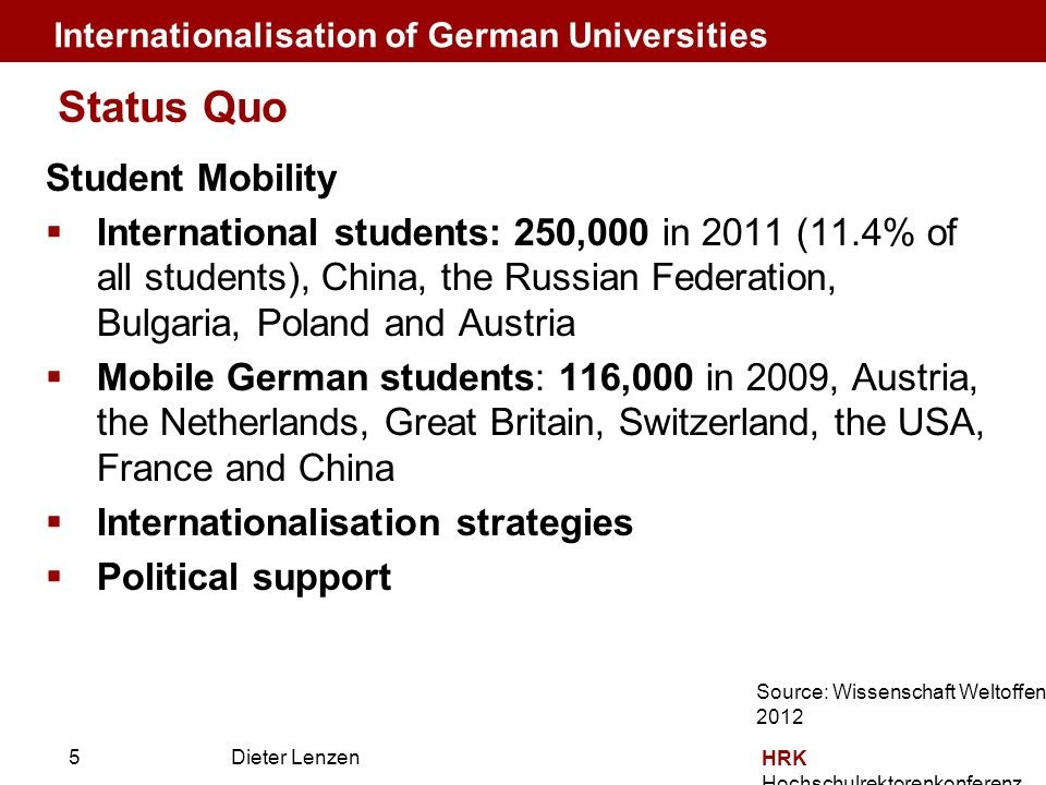 Dieter Lenzen HRK Hochschulrektorenkonferenz Student Mobility International students: 250,000 in 2011 (11.4% of all students), China, the Russian Federation, Bulgaria, Poland and Austria Mobile German students: 116,000 in 2009, Austria, the Netherlands, Great Britain, Switzerland, the USA, France and China Internationalisation strategies Political support Status Quo Internationalisation of German Universities Source: Wissenschaft Weltoffen 2012 5