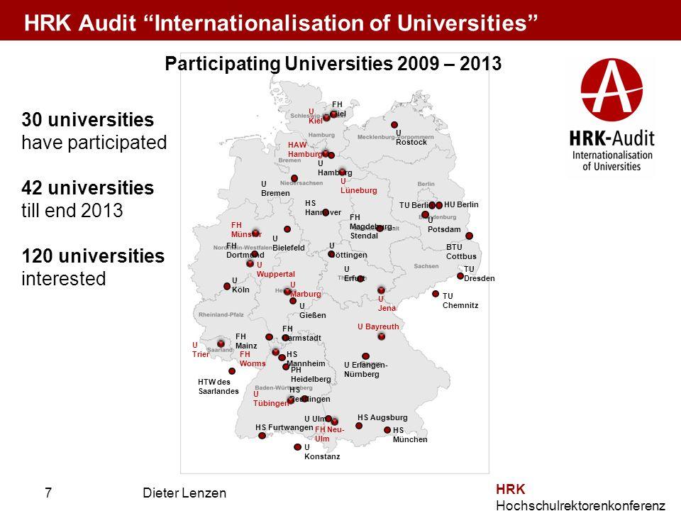 Prof. Dr. Dieter Lenzen Dieter Lenzen HRK Hochschulrektorenkonferenz Participating Universities 2009 – 2013 U Hamburg FH Kiel U Rostock TU Berlin HU B