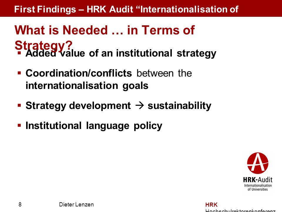 Prof. Dr. Dieter Lenzen Dieter Lenzen Added value of an institutional strategy Coordination/conflicts between the internationalisation goals Strategy