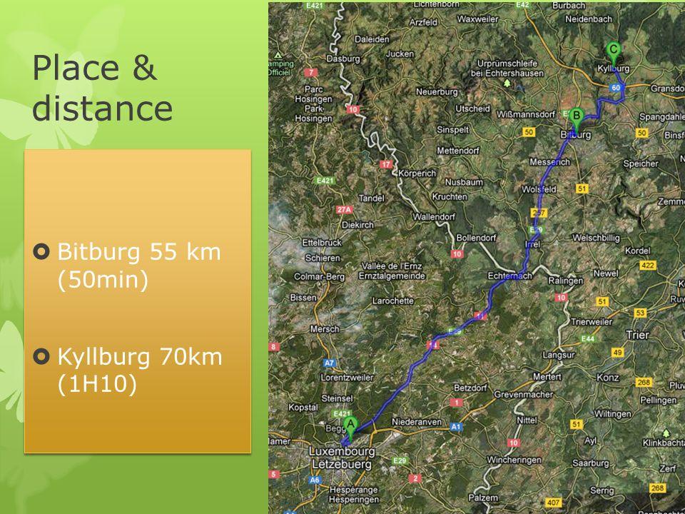 Place & distance Bitburg 55 km (50min) Kyllburg 70km (1H10) Bitburg 55 km (50min) Kyllburg 70km (1H10)